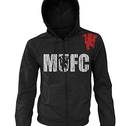 MUFC Manchester Devil Shield Logo Soccer Zip-Up Hoodie (Large, Black / White Red Logo) ()