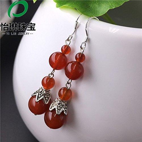 Natural chalcedony earrings Year festive red beads Lucky bride toast earrings s925 sterling silver earrings hypoallergenic ()