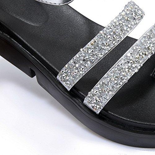 BalaMasa Womens Studded Mule Non-Marking Urethane Sandals ASL05026 Silver POC2PgXh11
