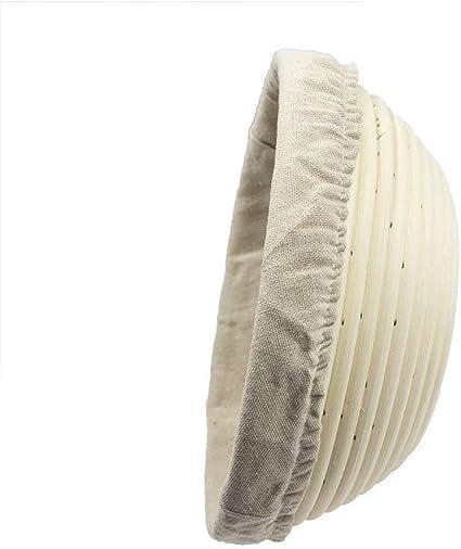 SnailBread Cestino Rotondo da lievitazione 22 x 8,5 cm Cestino pane Ciotola In Rattan Naturale perPane e Impasto con Rivestimento in Tessuto