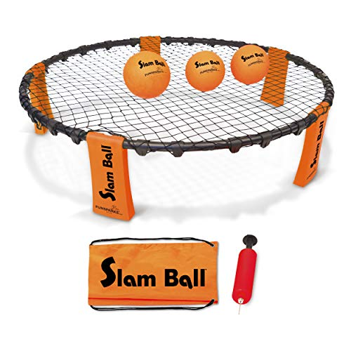 (Funsparks Slam Ball with 3 Balls - Spike The Ball into The Net at a Park, Beach, Lawn and Backyard - Volleyball Game Indoor or Outdoor Toy for Older)
