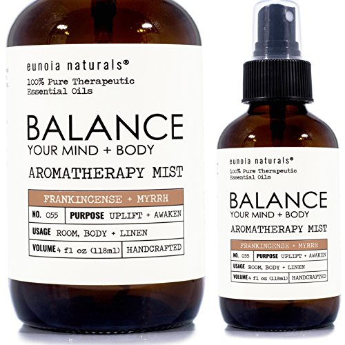 Balance Your Mind + Body, Frankincense + Myrrh Aromatherapy Blend, Grounding Essential Oil Blend, Promotes Tranquility, Myrrh, Frankincense Essential Oil, 4oz Large Glass Bottle, eunioa Naturals