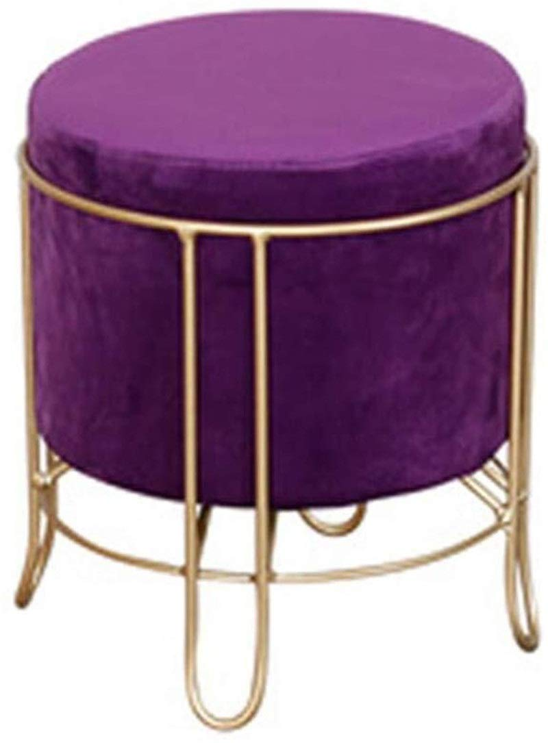 CHU N Footstool Metal Legs Round Upholstered Stool Modern On-Trend Style Gold Legs Best Home Garden Chairs 927 (Size : A) by CHU N