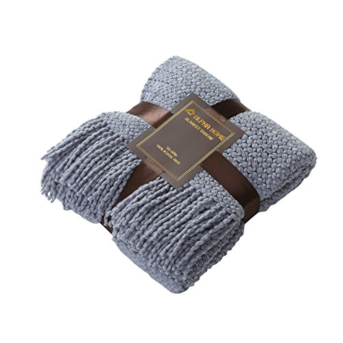 ALPHA HOME Knit Throw Blanket Perfect Gift Warm & Cozy for Couch Sofa Bed Beach Travel - 50