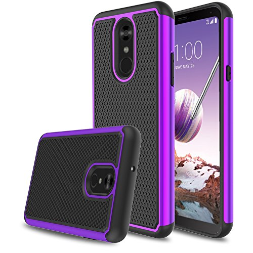 LG Stylo 4 Phone Case, LG Stylo 4 Plus Case, LG Stylus 4 Case, Elegant Choise Hybrid Dual Layer Shock Absorbing Anti-Scratch Rugged Bumper Armor Defender Protective Case Cover for LG Stylo 4 (Purple)