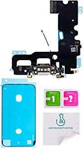 OmniRepairs Charging USB Dock Port Flex Cable Replacement with Microphone and Coaxial Antenna Compatible for iPhone 7 Model (A1660, A1778, A1779, A1780) with Adhesive (White)