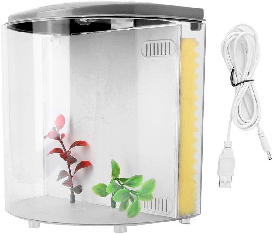 Hffheer USB Desktop Fish Tank Mini Acrílico Fish Half LED Forma de Media Luna Betta Aquarium MiniBow con esponjas Filtro para Sala de Estar, Oficina, decoración del hogar(Negro)