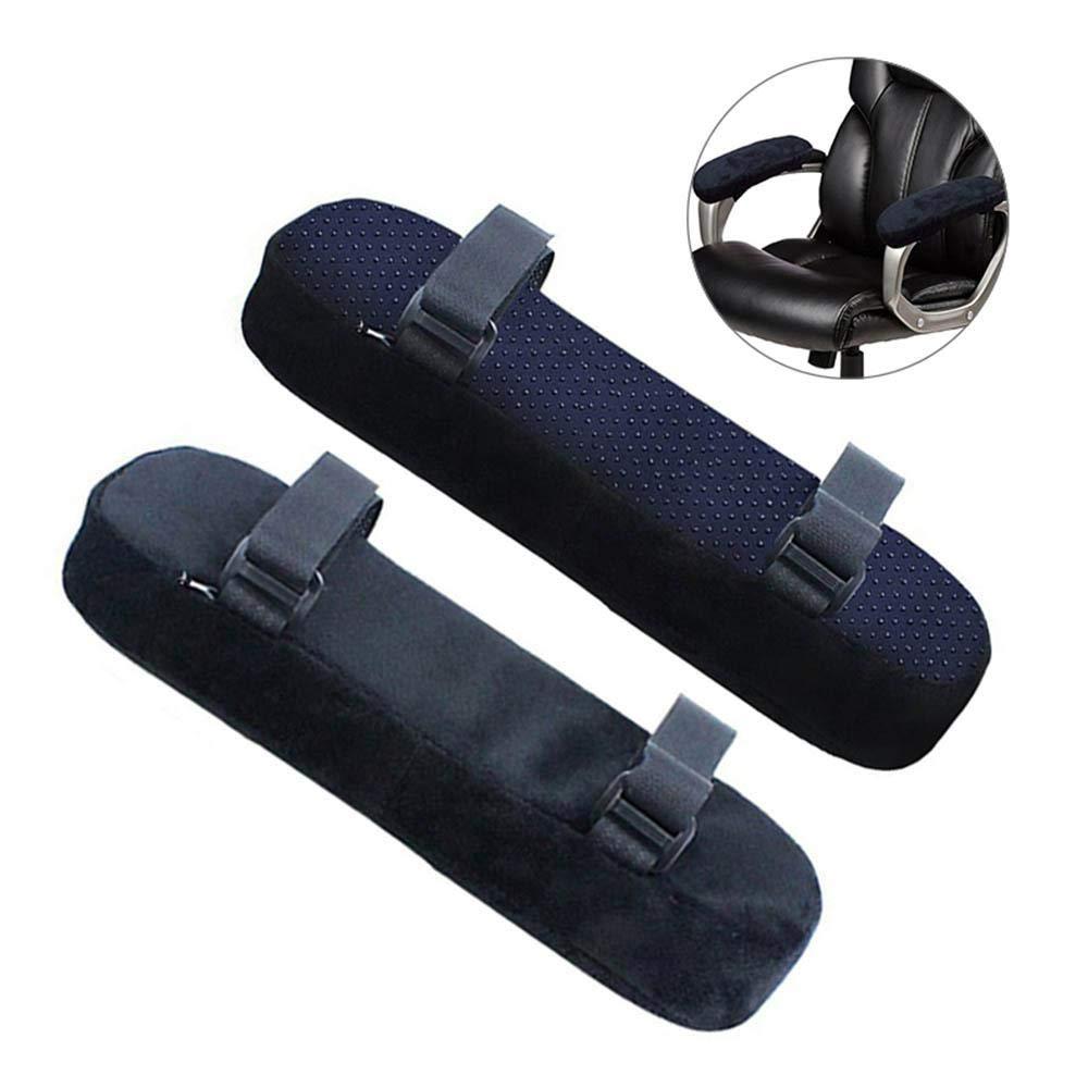 KOBWA Weiche Armlehnenauflage fü r Tisch Schreibtisch Rollstuhl, Universal Memory Foam Pad Armlehne Bezug, Bü rostuhl Armlehne Pads Ellbogen Kissen fü r Ellbogen und Unterarme Druckentlastung