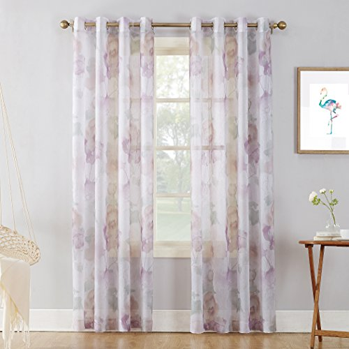 No. 918 Andorra Watercolor Floral Crushed Texture Sheer Voile Curtain Panel, 51