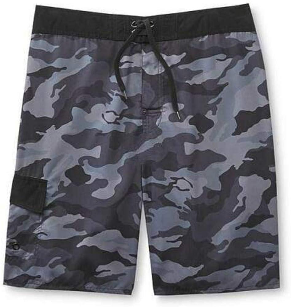 Camouflage Fireworks Palm Trees Swim Board Shorts Joe Boxer Mens Black Multi Striped