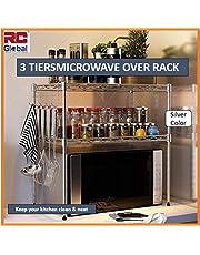 RC Global Microwave oven rack/Microwave Rack/Microwave oven Shelf/Microwave Shelf/Microwave Storage/Kitchen organizer/Kitchen Shelf/Table Racks (Carbon Steel),55 x 30 x 55cm, Silver