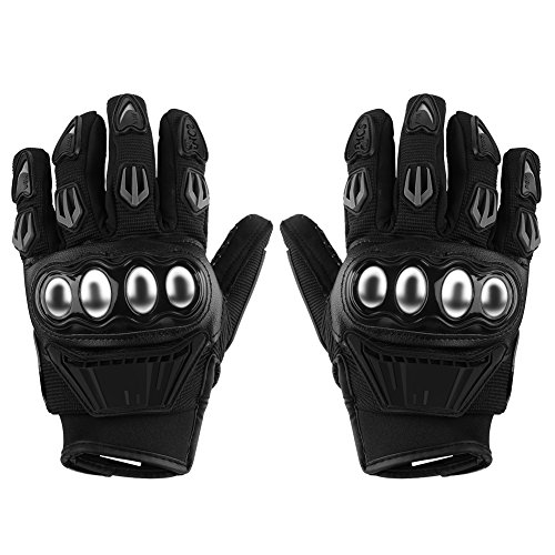 Anauto Motorcycle Gloves, Pair of Full Finger Alloy Protective Armed Motorcross Gloves Man Women Winter Warm for Airsoft Racing Riding Cycling(L-Black)
