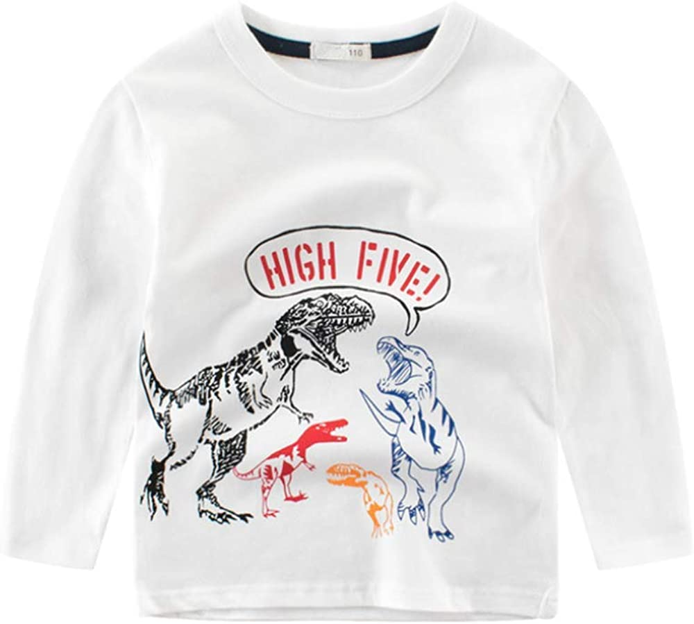 ZPW Boys Cotton Long Sleeve T-Shirt Kids Dinosaur Printed Tees
