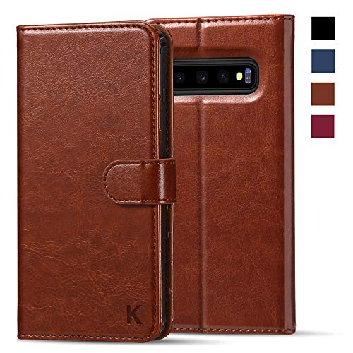 KILINO Galaxy S10 Wallet Case [Shock-Absorbent Bumper][Card Slots][Kickstand][RFID Blocking] Leather Flip Case Compatible with Samsung Galaxy S10 - Brown