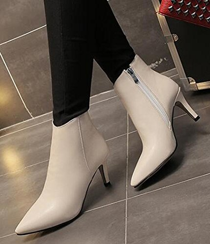 IDIFU Womens Sexy Pointed Toe Mid Stiletto Heels Ankle Boots Short Booties With Side Zipper Beige Ba1jv5xJi