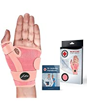 Doctor Developed Ladies Pink Thumb Brace/support & Wrist Brace/Thumb Splint (Single) - Doctor Written Handbook - Relieves Sprains Strains Rsi, Joint Pain & More, Fits Both Left & Right