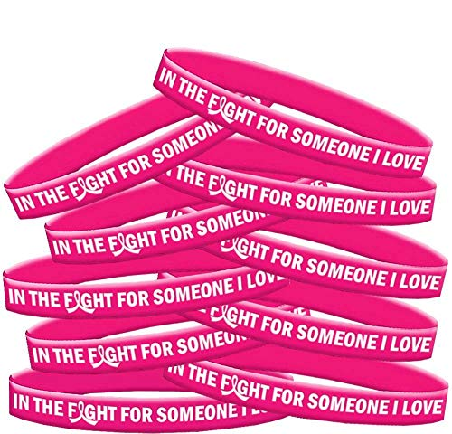 in The Fight for Someone I Love Breast Cancer Wristband Bracelet 10-Pack (Hot ()