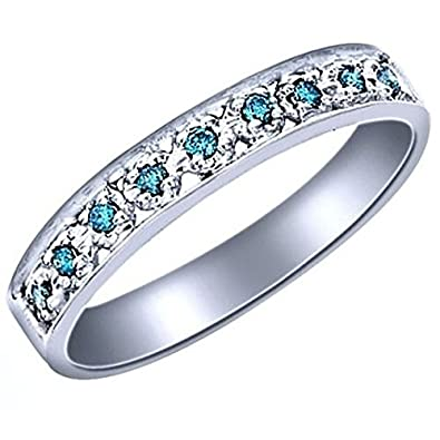 Amazon Com 1 6 Carat Ctw Pave Set Blue Diamond Wedding