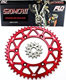 Flo Motorsports Gold Chain & Sprocket Combo Kit SUZUKI RM-Z250 FRONT SPROCKET 13T / REAR SPROCKET 50, 51, 52, or 53 TOOTH (50T, Red)