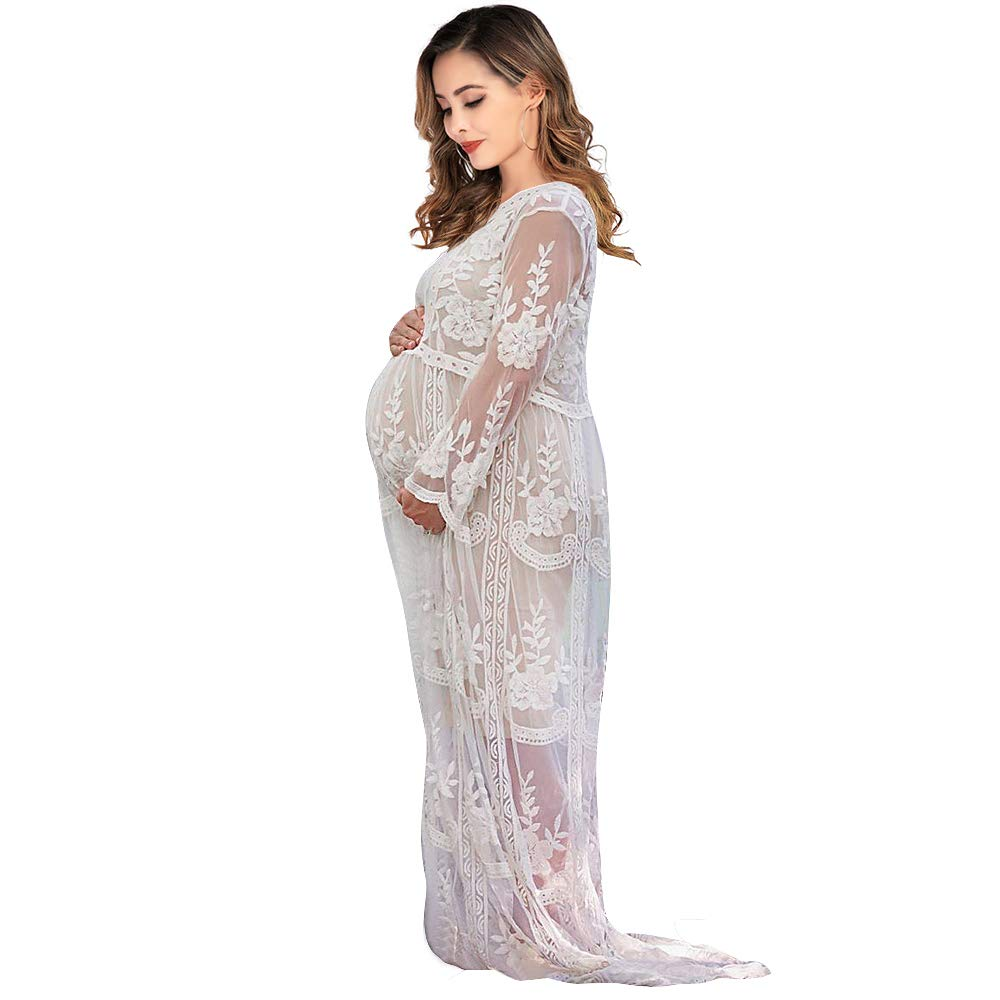 Women's Long Sleeve V Neck White Lace Floral Maternity Gown Maxi Photography Dress (White, M) by SMDPPWDBB
