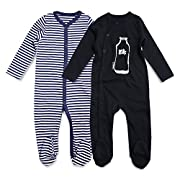 OPAWO Unisex-Baby Cotton Footie Pajamas Footed Sleepers 0-12 Months 2 Pack (3-6 Months, Stripe+Black)