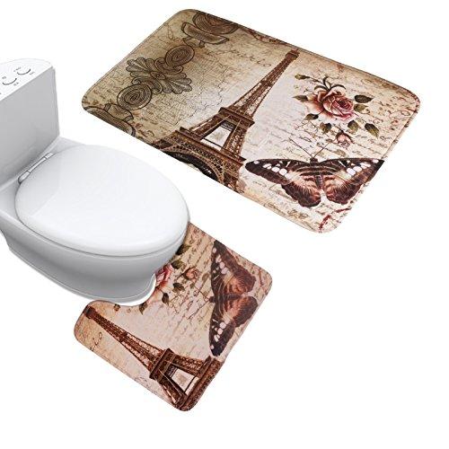 JILLBAN Eiffel Tower Flannel Mat Set Toilet Cover Set Non Slip Bathroom Carpet Rug (2)