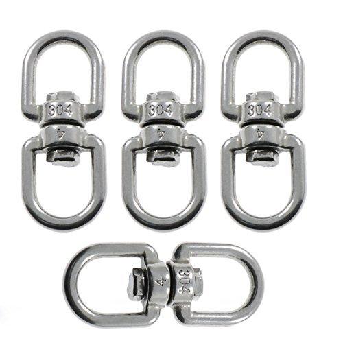 Joyce Lindberg 4-Pack M4 Double Ended Swivel Eye Hook 304 Stainless Steel Eye to Eye Swivel Shackle Ring Connector