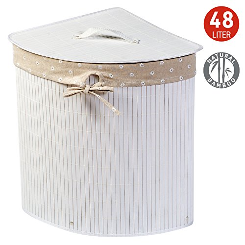 Tatkraft Virginia Bamboo Corner Laundry Basket 48L Removable Inner Bag 35X35X50H cm