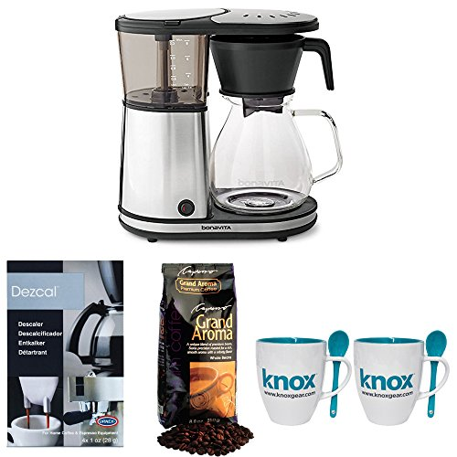 Bonavita BV1901GW 8-cup Coffee Brewer + Grand Aroma Coffee, Knox Mugs + Descaler by Bonavita