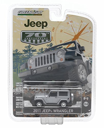2011 JEEP WRANGLER (Bright Metallic Silver) * Jeep 70th Anniversary * 2015 Greenlight Collectibles Anniversary Collection Series 2 Limited Edition 1:64 Scale Die-Cast Vehicle