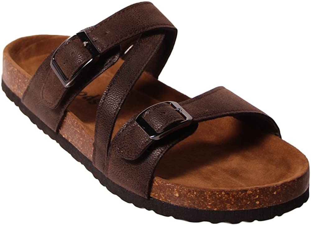 OUTWOODS Bork-56 Womens Strappy Buckle Slide Sandals