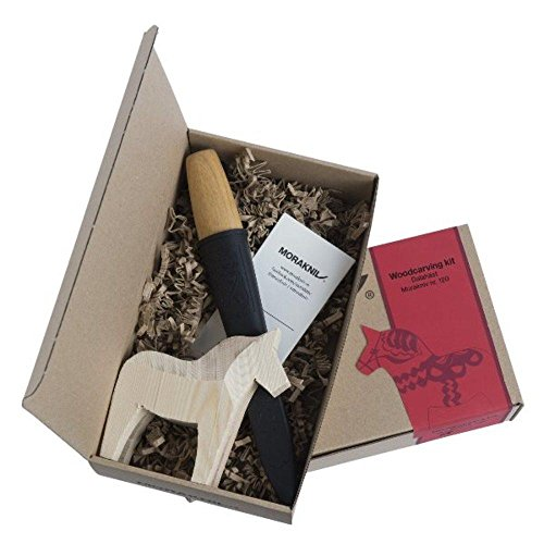 Morakniv Carving Kit with Morakniv 120 Carving Knife and Rough Cut Wooden Swedish Dala Horse