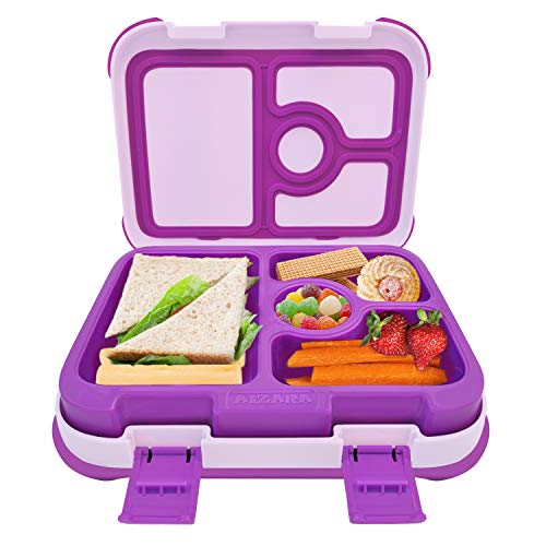 Bento Box for Kids, AIZARA Leakproof BPA Free Lunch Box Food Storage Container 4 Compartment Snack Packing for Travel & to-go Meal School Picnic Boys Girls Children and more(Dark Purple)