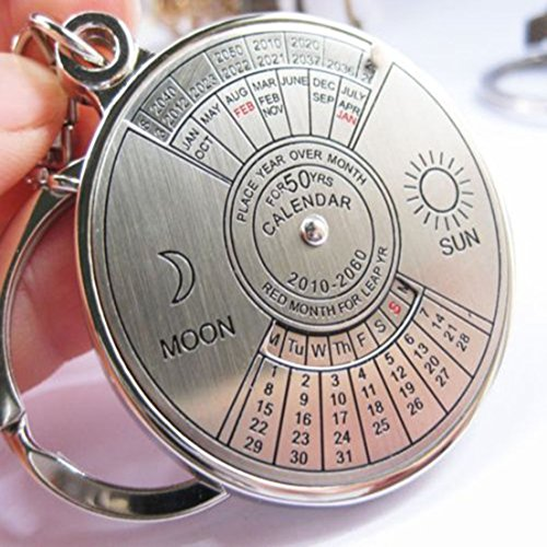 GrandSiri 1 Pc/Set Calendar Perpetual 50 Years Keychain Mini Alloy Key Chain Ring Holder Wristlet Clip Men Women Accessories Keyring Best Popular Color Silver