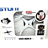 FPV Quadcopter Drone with Wifi-Camera w/3D VR Headset Live Video Headless Mode 2.4GHz 4 Chanel 6 Axis Gyro 360 Flip Stunts (White)