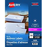 """Avery Address Labels for Laser Printers, 1-1/2"""" x 4"""", White, Rectangle, 1400 Labels, Permanent (5159) Made in Canada"""