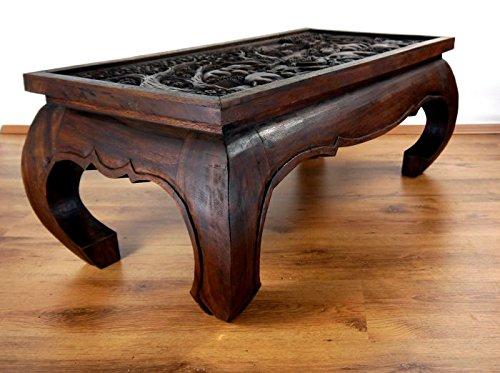 Opiumtisch 100x50x40cm in mahagonibraun mit Schnitzerei. Beistelltisch aus Asien. Asiatisches Möbelstück. Asiatischer Couchtisch aus Massivholz. Echter Massivholztisch im Kolonialmöbelstil. Holzelefanten, Elefanten aus Holz Motiv