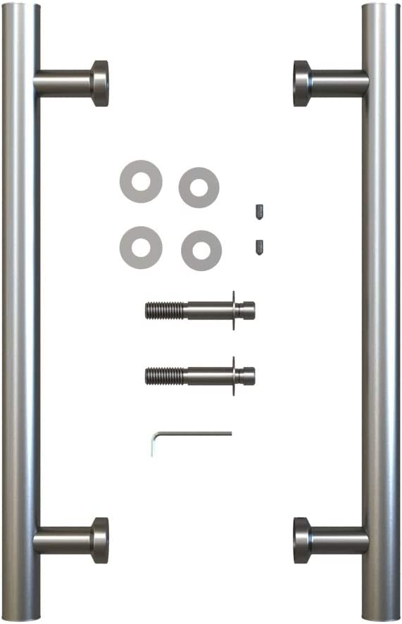 JUBEST 15 13//16 inches Smooth Finish Flat Black Back to Back Pipe Handle Pull Set for Sliding Barn Door