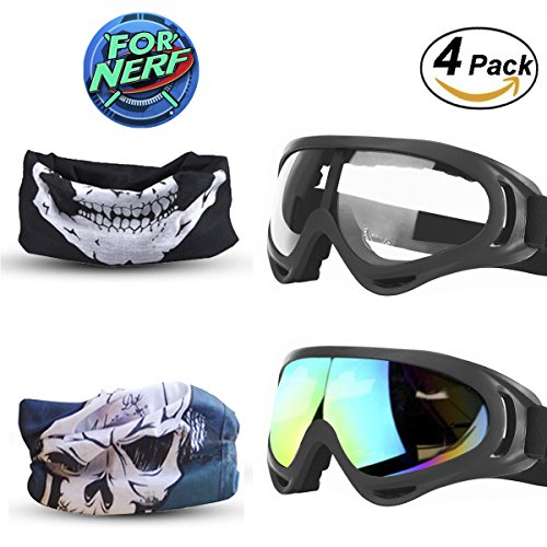 FinalBase Goggles 2 Pack and Mask 2 Pack for Nerf Game Toy Adjustable Multi-Purpose Masks with Face Masks for Nerf Guns N-Strike Elite Series Foam Gun Goggles&Eye Shield