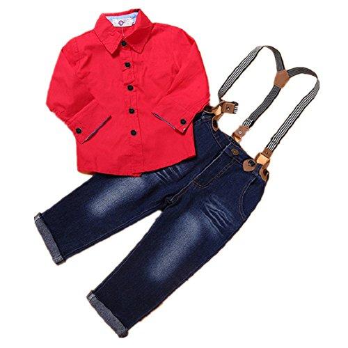 FTSUCQ Boys Red Shirt Top + Jeans Overalls Suspender Bib - Jobs Uk Jack Wills