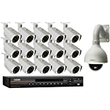 Q-See QC8116-16P2-3 16 Channel Digital NVR with 3TB Hard Drive and 15 HD/1 HD 1080p IP/PTZ Camera (White)