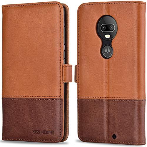 Moto G7 Plus Case, Moto G7 Case, KEZiHOME [RFID Blocking] Genuine Leather Wallet Flip Cover with Kickstand, Card Slot, Magnetic Closure Shockproof Phone Case for Motorola Moto G7/ G7 Plus (Khaki)