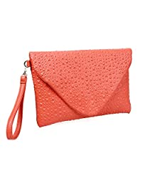 BMC Unique Faux Leather Envelope Style Studded Square Circle Fashion Clutch