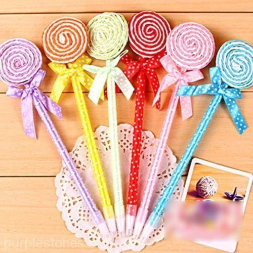 OLIVE US-12PCS Flat Shape Lollipop Ball Point Pen Kids Toys Cute Stationery School Gift