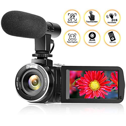 Camcorder Digital Video Camera, Vlogging Camera Camcorder with Microphone and Remote Control Full HD 1080p 30FPS Digital Camera