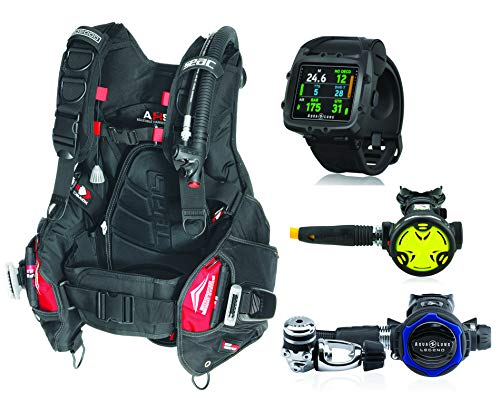 SEAC Pro 2000 BCD with Aqua Lung Legend LX Regulator and Synchro Octo Safe Second Stage, Scuba Regulator Gear Package, MD