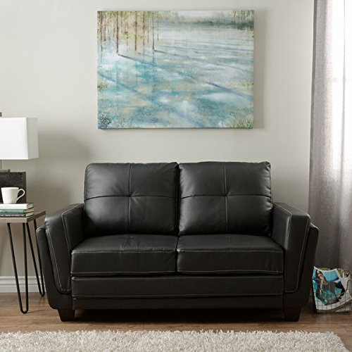 Furniture of America Bedford Black Leatherette Loveseat