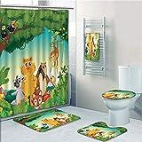 Bathroom 5 Piece Set shower curtain 3d print,Zoo,Forest Scene with Different Animals Habitat Jungle Tropical Environment Kids Cartoon Decorative,Multicolor,Bath Mat,Bathroom Carpet Rug,Non-Slip,Bath T