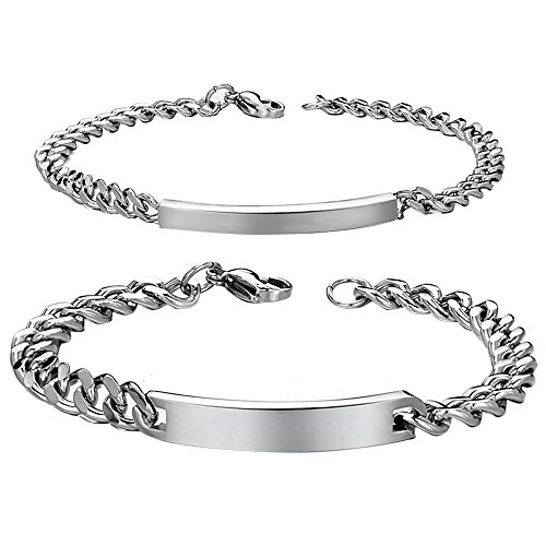 (Cupimatch 2PCS Stainless Steel Couples Bracelet Link Chain Bangle for Men Women, 9