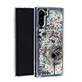 Miagon Liquid Case for Samsung Galaxy Note 10,Soft Glitter Shockproof Cover Floating Bling Sparkle Shiny Quicksand Clear Protective Case Cover-Dandelion Butterfly